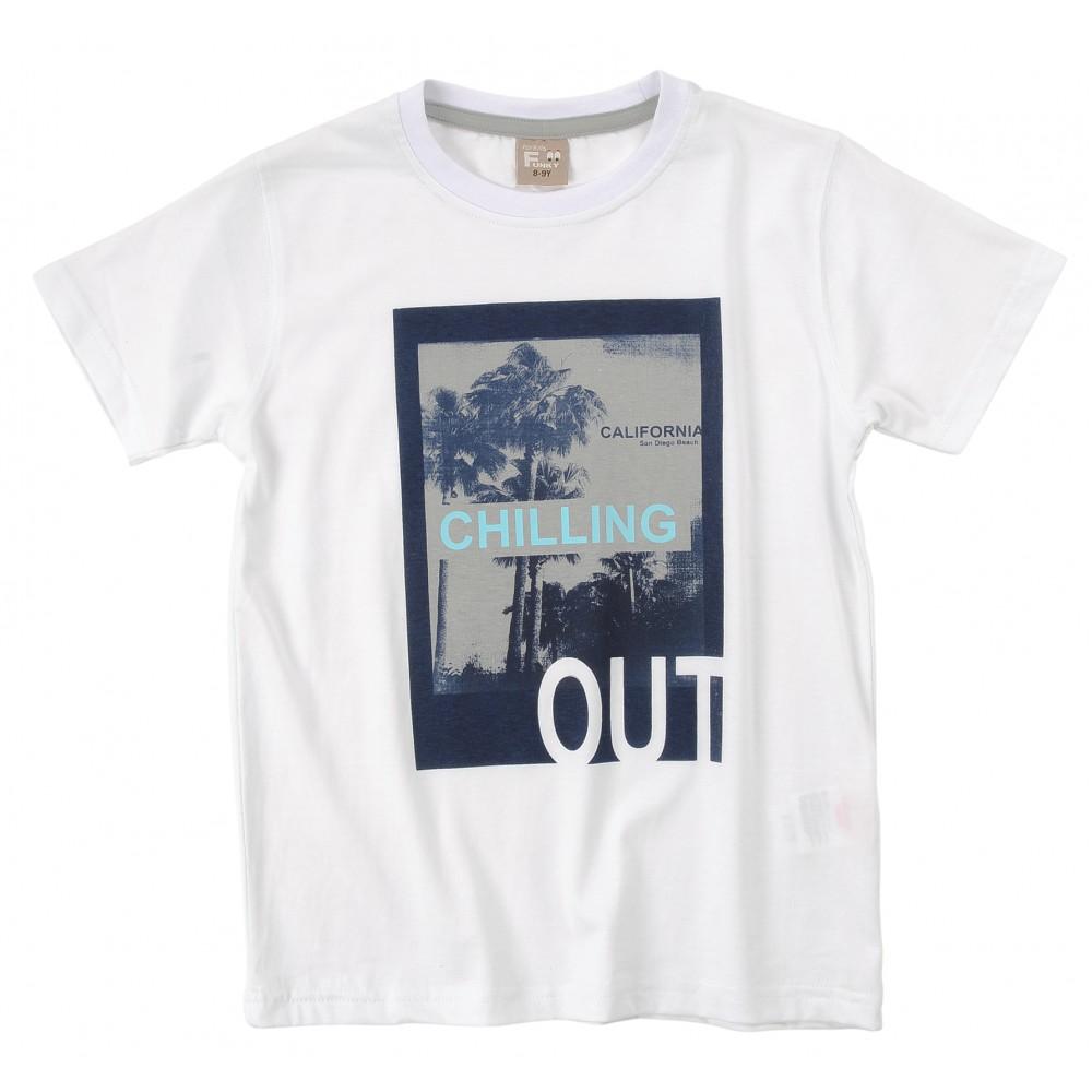 Μπλούζα λευκή για αγόρι For Funky 120-105109-4