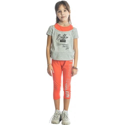 Σετ ρούχο γκρι μπλούζα με κάπρι κολάν για κορίτσι Joyce 211524