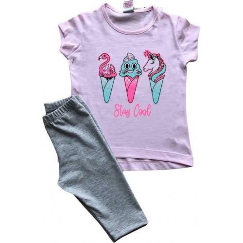 Σετ ρούχο μπλούζα με κάπρι κολάν για κορίτσι Trax 39220