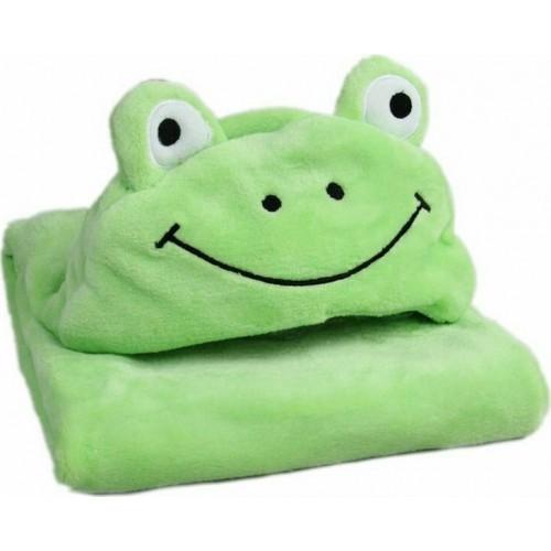 Κουβέρτα Fleece Αγκαλιάς με Κουκούλα Morven 2145 Βατραχάκι Πράσινο 110x85