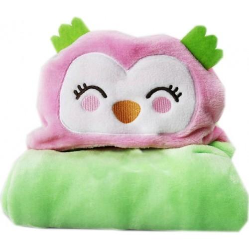 Κουβέρτα Fleece Αγκαλιάς με Κουκούλα Morven 2145 Κουκουβάγια Ροζ 110x85