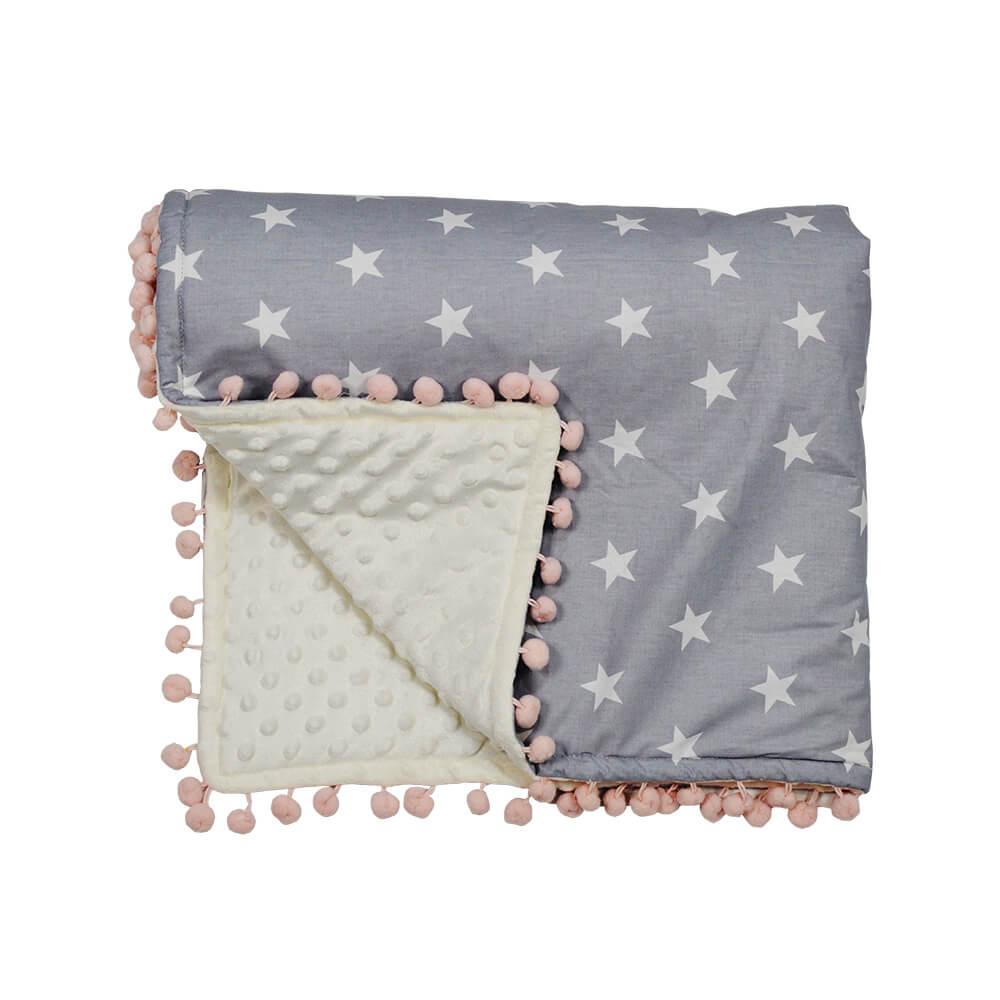 Κουβέρτα fleece με pom-pom Stars Bebe Stars 3073