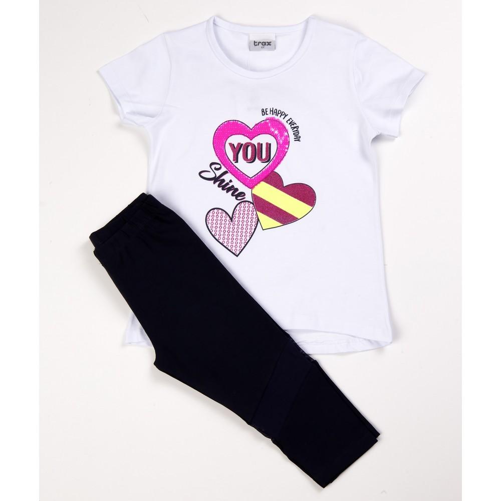 Σετ ρούχο μπλούζα με κάπρι κολάν για κορίτσι Trax 39114