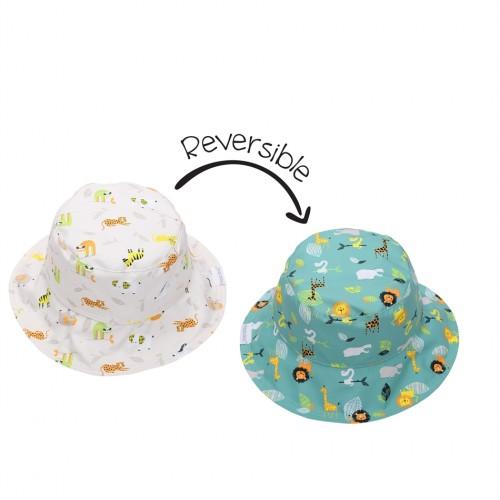 FlapJackKids Καπέλο Διπλής Όψης 6m-2y UPF 50+ – Grey Zoo FJKPH541s