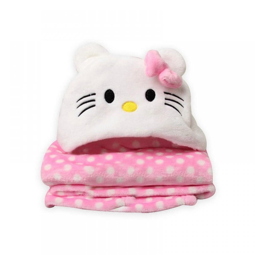 Κουβέρτα Fleece Αγκαλιάς με Κουκούλα Morven 2145 Kitty Ροζ 110x85