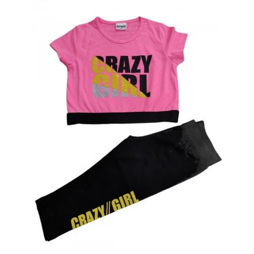 Σετ ρούχο μπλούζα με κάπρι κολάν για κορίτσι Trax 39105