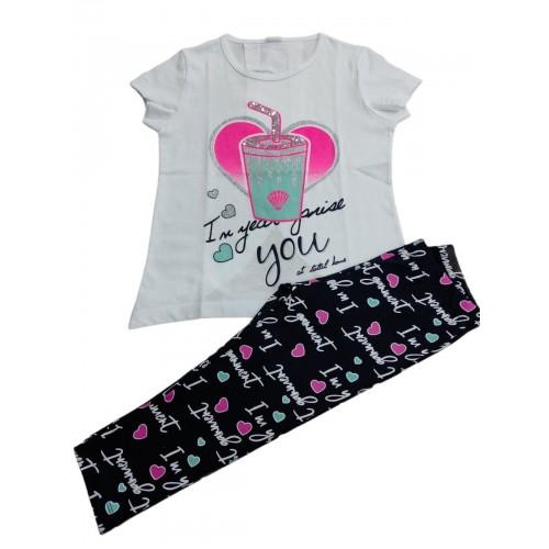 Σετ ρούχο μπλούζα με κάπρι κολάν για κορίτσι Trax 39132
