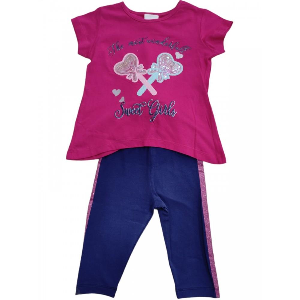Σετ ρούχο μπλούζα με κάπρι κολάν για κορίτσι Trax 39230