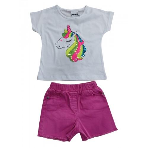 Σετ ρούχο μπλούζα με σορτς για κορίτσι Trax 39246