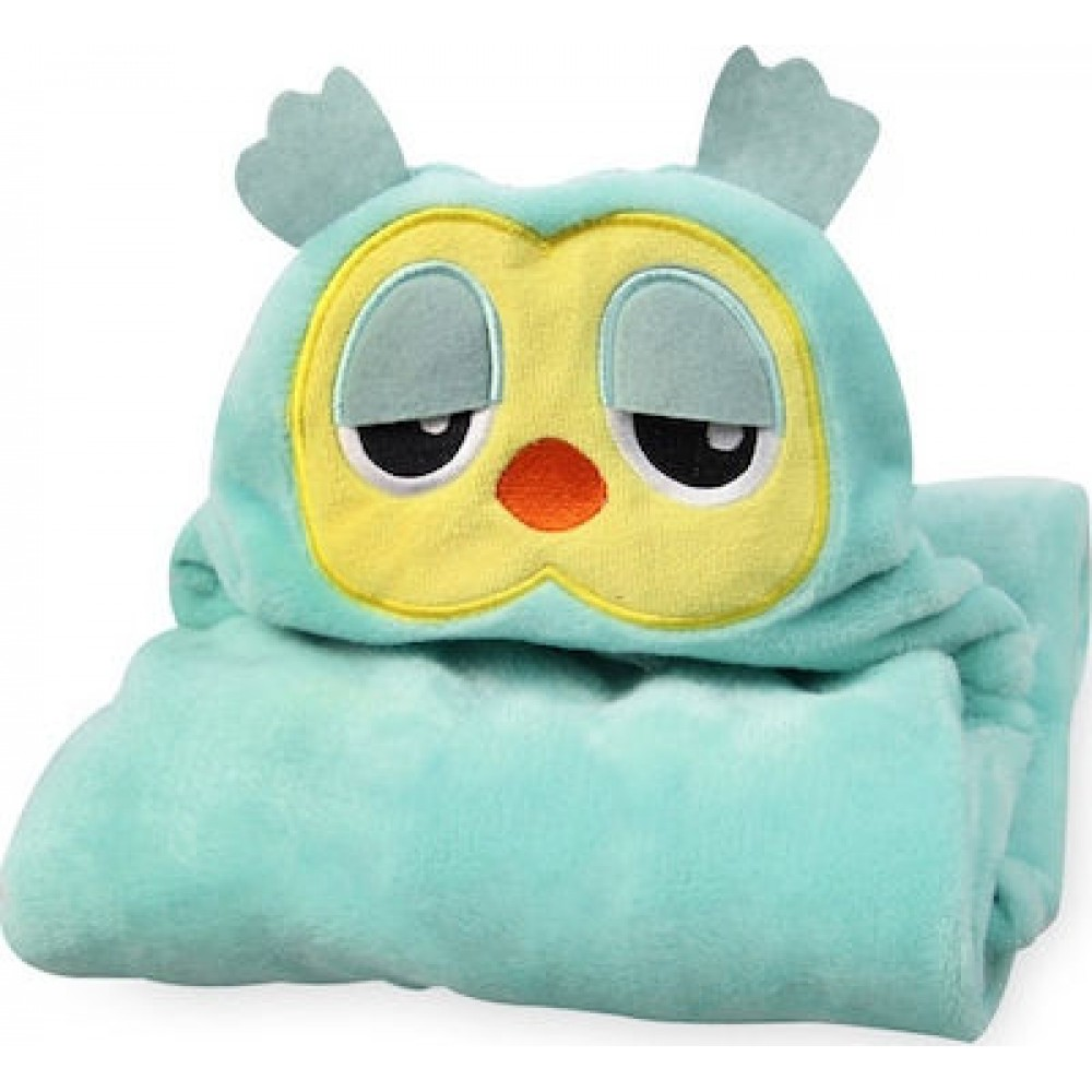 Κουβέρτα Fleece Αγκαλιάς με Κουκούλα Morven 2145 Κουκουβάγια Μέντα 110x85